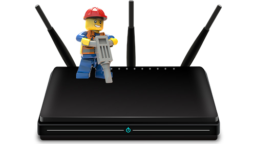 Lego guy jack hammers a modem