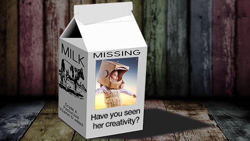 missing creativity on the side of a milk carton